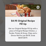 KFC $4.95 Original Fill Up (App Exclusive) - Order before 4pm