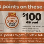 2,000 Points Worth $10 with Purchase of $50 Netflix, Google Play & Uber Gift Cards (4,000 with Adrenaline $100) @ Woolworths
