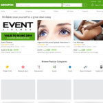 Groupon up to 25% off Selected Categories (Max Discount $40, Unlimited Redemption)