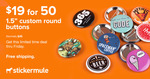 Custom 38mm Buttons 50 for AU $26.71 (Was $50) @ StickerMule