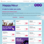 Virgin Happy Hour: 50% off Domestic Economy (Getaway) Fares on Christmas Day
