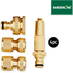 Gardenline 4pc Brass Hose Accessories Kit $9.99 @ ALDI