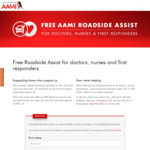 Free Roadside Assistance for All Doctors, Nurses, Paramedics, Firefighters, Police Officers @ AAMI (Includes Non-AAMI Customers)