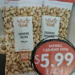 [WA] Cashew Nuts (Salted) 500g $5.99 Each @ Spudshed