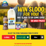Win $1,000 (Plus $1,000 for a Charity) from Dairy Farmers