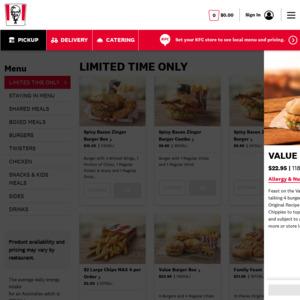 Value Burger Box: 4 Zinger/Original Recipe Burgers & 4 Regular Chips $22.95 (Available Fridays, Saturdays & Sundays Only) @ KFC