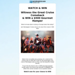 Watch & Win a $500 Gourmet Hamper from Norwegian Cruise Line