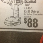 Ozito 18V Li-Ion Drill Driver with 2 Batteries $88 @ Bunnings Warehouse