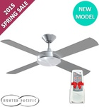 """Free Universal Remote with Hunter Pacific Concept 2 52"""" Brushed Aluminium Fan ($249) @Fansonsale"""