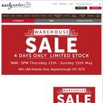 EARLY SETTLER WAREHOUSE SALE 9-5pm Thu 12th May - Sun 15th May Keysborough, VIC