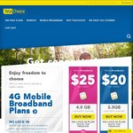 TeleChoice Mobile Broadband Monthly Plans - $20/2.5GB $25/4GB No Lock-in Plans