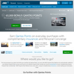 ANZ FF Platinum 65000 Bonus Qantas Points, No Annual Fee for First Year with Min $2500 Spend/3 Months ($295/Yr after)