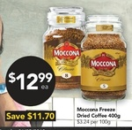[QLD] Moccona Freeze Dried Instant Coffee 400gm $12.99 @ Drakes