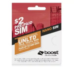 Boost $2 Value Nano SIM Card $0.05 Free Click and Collect @ Officeworks