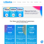Lebara 180 Day Plans: Small 70GB $95 | Medium 100GB $115 | Large 150GB $145 [Existing and New Customers]