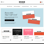 $10 Bonus with $100+ Myer Gift Cards Purchases @ Myer (In-Store & Online)