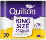 Quilton 3 Ply King Size Unscented Toilet Tissue (175 Sheets Per Roll, 121mm X 114mm, Pack of 30) $22 @ Amazon AU