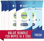 Dettol Antibacterial Disinfectant Surface Cleaning Wipes Fresh 720 (6 x 120s) $49.63 Delivered @ Amazon AU