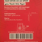 Free Drink with Burger/Salad Takeaway Purchase - Original Flyer Required @ Grill'd [In-Store/Phone Orders Only]