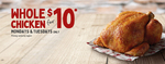 $10 Whole Roast Chicken (Mondays & Tuesdays, Pickup Only, No Catering) @ Red Rooster