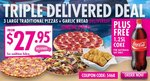 Eagle Boys Pizza Australia Day Special 3 Pizza + GB Delivered $27.95 with FREE COKE TODAY ONLY