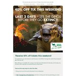 40% off Taronga Zoo Tickets This Weekend Only