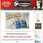 Free Delivery Australia Wide if You Order over $20 Worth of Geronimo Jerky (Online Only)