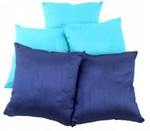 31% off on Solid Yarn Dyed Aqua Blue Polydupion Reversible Cushion Cover( Set of 5 ) - A $15.95 + Free Shipping @ Rajrang