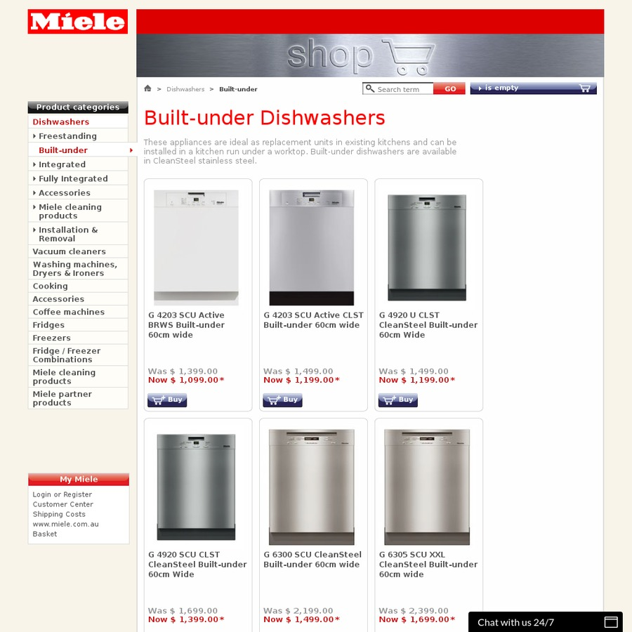 Miele Dishwasher G6300 1499 Reduced From 2199 Miele Shop