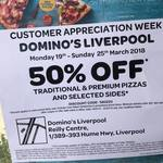 [NSW] Domino's 50% off Traditional and Premium Pizzas [Liverpool]