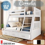 Solid Pine Storage Triple Bunk Bed Kids Bedroom Furniture $465.52 Plus Freight @ Luxo Living eBay Store