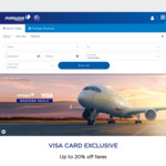 3-20% off Flights on Malaysia Airlines (VISA Cardholders)