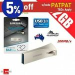 Samsung BAR Plus 32GB $12.32, 128GB $33.72 + Delivery ($0 with eBay Plus) @ Shopping Square eBay