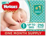 Huggies Size 1-2 Nappies $49.98 + Delivery ($44.98 with Prime / $42.48 with Prime + Sub) @ Amazon AU