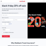 20% off Travel Insurance @ Medibank (Black Friday Deal)