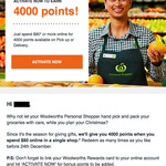 Woolworths Online: $20 Voucher after Spending $100 in Multiple Shops | 4,000 Bonus Woolworths Rewards Points with Every $80 Shop