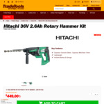 [Ex Display] Hitachi & Metabo Clearance Deals - Hitachi 36v 2.6ah Rotary Hammer Kit. $449 Delivered (Save $550) @ TradeTools