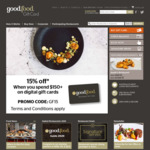 15% off Digital Gift Cards When You Spend $150 or over @ Good Food Gift Card