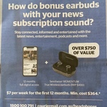 Free Sennheiser MOMENTUM True Wireless Earbuds with Courier/D Telegraph/Herald Sun Subscription ($7/Wk for 12mo, $364min Cost)