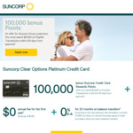 Suncorp Clear Options Platinum Card 100000 Bonus Reward Points & No First Year Fee ($129), Spend $3000 in 90 Days