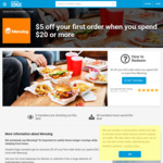 $5 off $20 Spend (New Menulog Users Only) @ Menulog via Student Edge