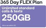 LARGE 365 Days FLEX 250GB 365 Days $225 Prepaid (New and Existing Customers) @ Kogan Mobile (Vodafone Network)