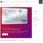 Virgin Australia Velocity Flyer Card: 25k/Month Velocity Pts with $1,500/Month Spend for 4 Months, $129 Voucher, $64 1st Yr Fee