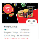 50% off Orders over $20 (Excludes Delivery Fee) @ Hungry Jack's via Deliveroo
