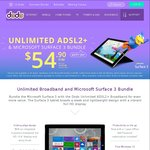Unlimited ADSL 2+ & Microsoft Surface 3 64GB All for $54.90/Month [24month Contract] with Dodo