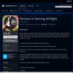 [AU PSN] Persona 4 Dancing All Night $24.95 (Previously $54.95)