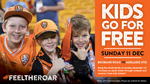 2x Free Kids Ticket with Every Paying Adult ($28-$36) @ Brisbane Roar Match (Suncorp Stadium) This Sunday 11th December