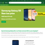 Samsung Galaxy S8 with 4GB Data, Unlimited Calls & SMS $72/Month with Woolworths Mobile