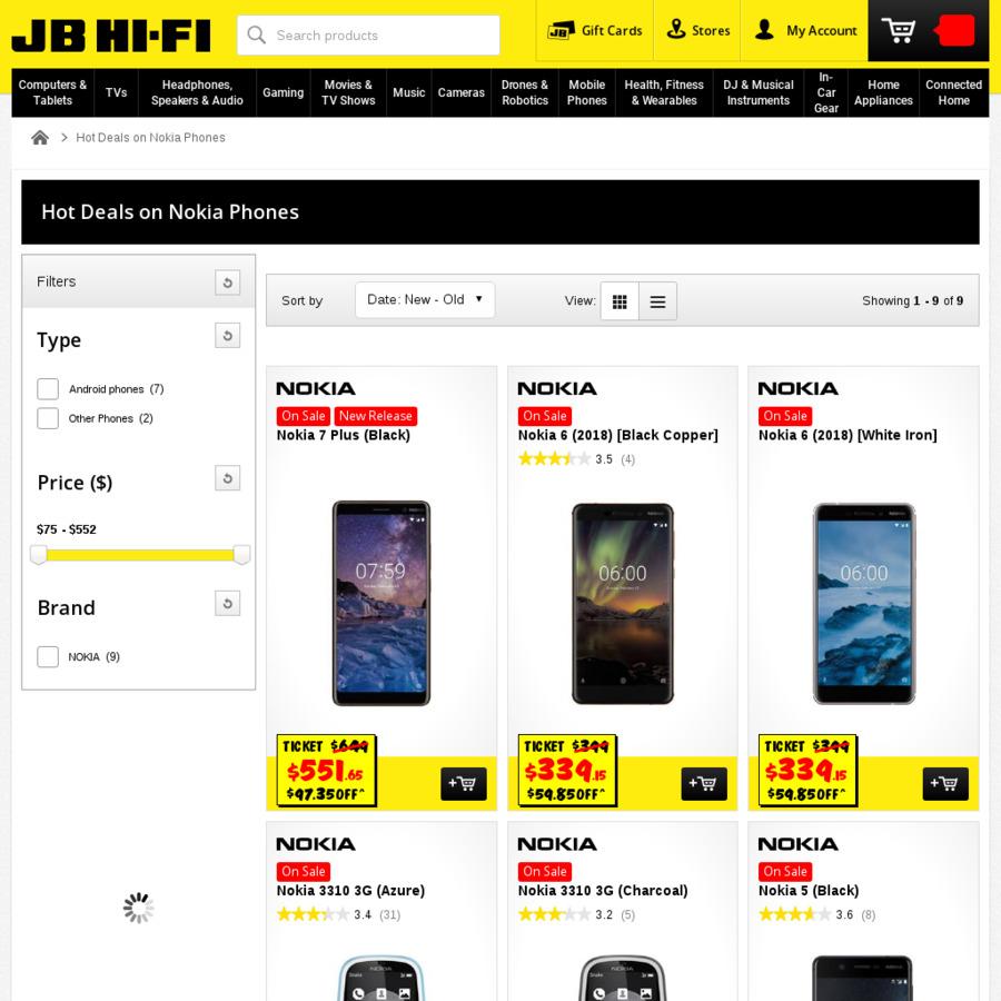 the best attitude 7278a 20dd2 15% off Nokia: E.g Nokia 7 Plus 64GB $551.65, Nokia 6.1 32GB $339.15 ...