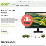"""Acer R231 23"""" FHD Monitor $135.20 (was $169) + Free Shipping @ Acer Australia"""